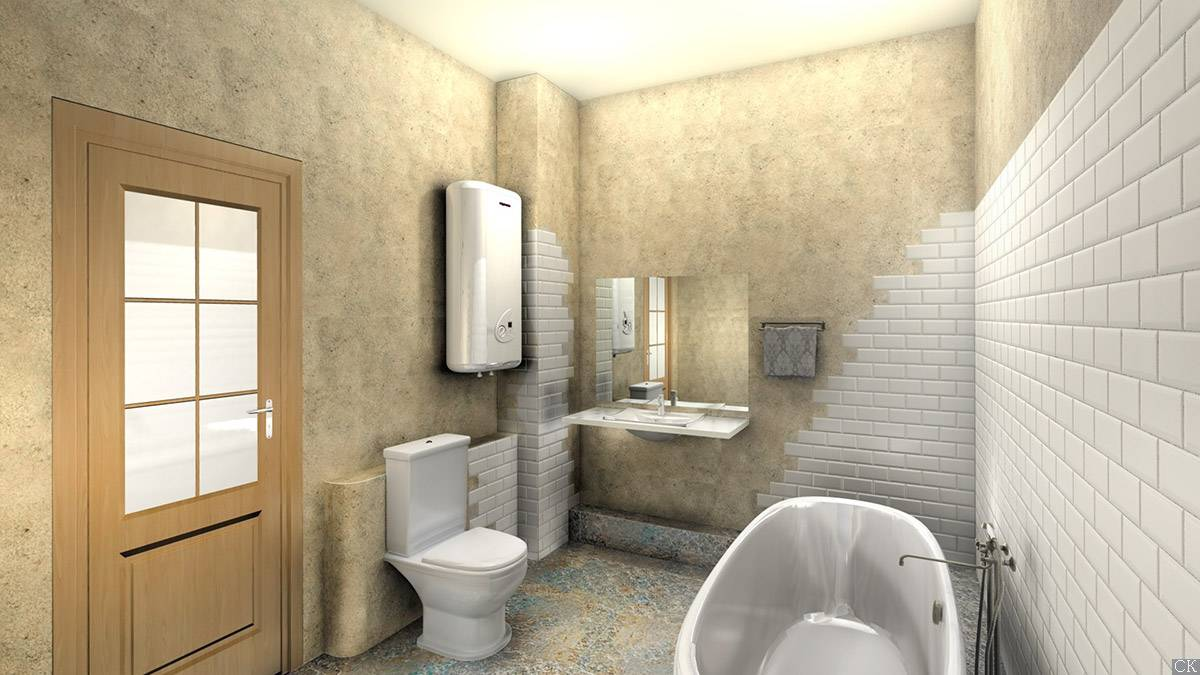 Белая плитка для ванной под кирпич