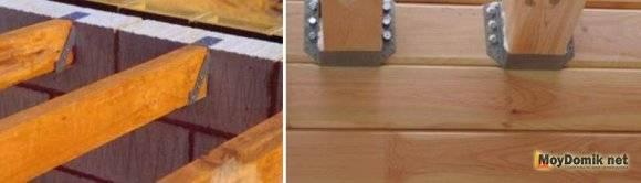 Крепление деревянных балок к кирпичной стене